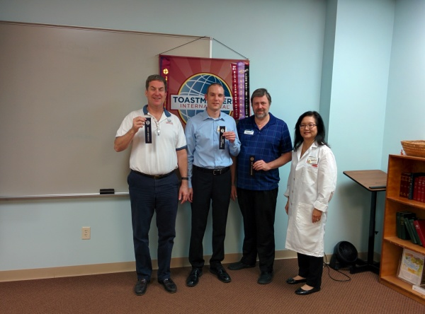 Hillcrest Toastmasters winners for September 28, 2015. Best Speaker, Bruce M; Best Table Topics, Donovan M.; Best Evaluator, David R.; Toastmaster, Amy Gow