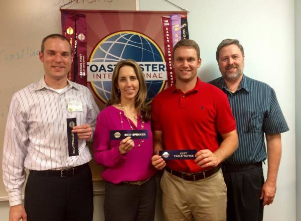 Hillcrest Toastmasters winners for November 2, 2015. Best Evaluator, Donovan M.; Best Speaker, Aggie L.; Best Table Topics, Ryan T.; Toastmaster, David Richmond.