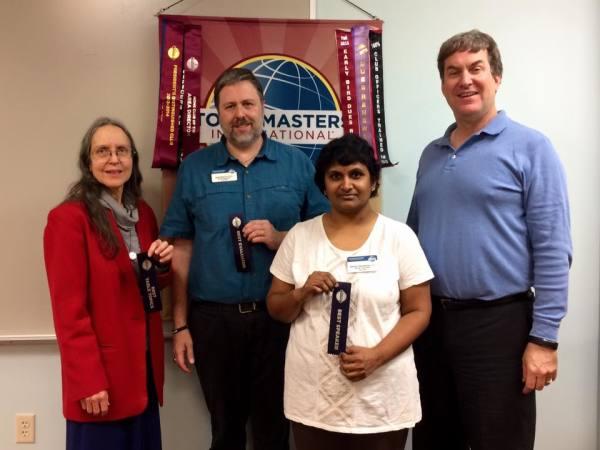 Hillcrest Toastmasters winners for November 16, 2015. Hillcrest Toastmasters winners for November 23, 2015. Best Table Topics, Helen M.; Best Evaluator, David R.; Best Speaker, Madhavi N.; Toastmaster, Bruce M.